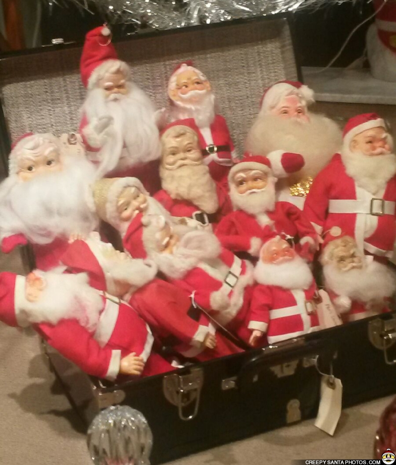 box full of creepy santas