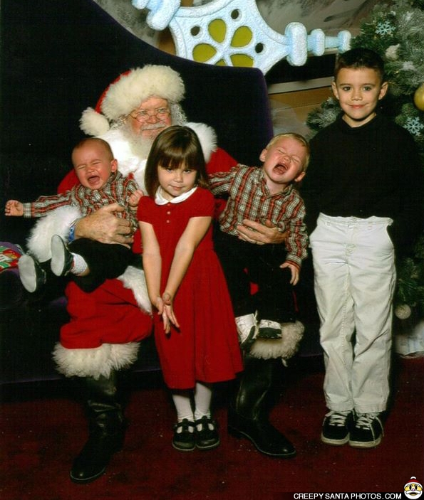 crying kids with santa