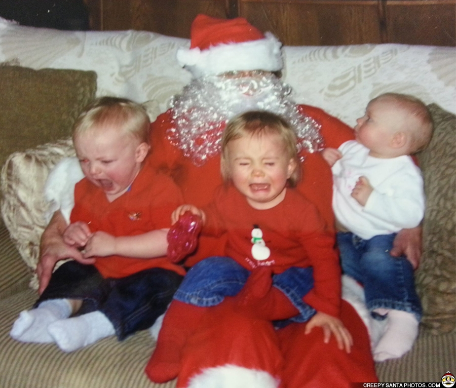 scared kids with santa terrifying